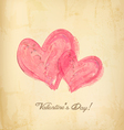 Watercolor red hearts on old paperHoliday vector image vector image