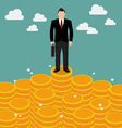 Businessman standing on money vector image