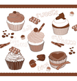 set of cute cupcakes for design vector image