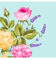 Bunch of lavender and rose flowers vector image