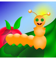 Caterpillar smiling on the leaf vector image