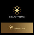 cross medic hospital technology gold logo vector image