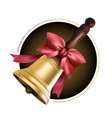 golden school metal bell with red bow and woode vector image