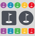 Golf icon sign A set of 12 colored buttons Flat vector image