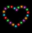 Multicolored glassy lights like heart frame vector image