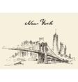 Manhattan bridge New York US drawn vector image