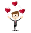 Business man juggling hearts vector image