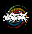 3 spartan warriors riding horses with weapon vector image
