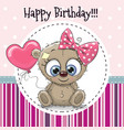greeting card cute cartoon bear girl vector image