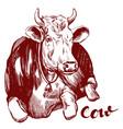 cow - domestic animal farm hand drawn vector image