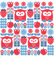 scandinavian seamless cute pattern with owl vector image