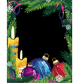 Christmas frame with colorful decorations vector image
