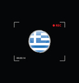 greek flag in focus on black background vector image