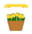 Wattled basket with flowers vector image