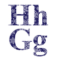 Uppercase and lowercase letters H and G vector image