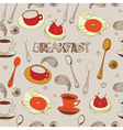 Seamless background with tea Breakfast vector image vector image