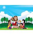 jesus and kids vector image