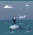 Business man on island in sea water with sharks vector image