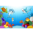 Cartoon tropical fish with beautiful underwater vector image