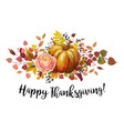 happy thanksgiving floral greeting card poster vector image