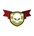 skull and shield crossed bones and skeleton head vector image