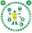 Green circular Health and Safety Icon collection vector image vector image