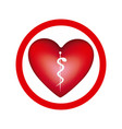 circular frame with heart health symbol serpent vector image