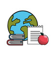 global planet with books notebook papper and vector image