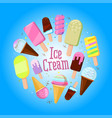 festive round frame made of ice-creams with sample vector image