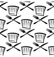 Chef hat with cutlery seamless pattern vector image