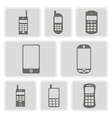 set of monochrome icons with mobile phones vector image