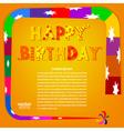 Birthday greetings on an orange background vector image
