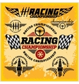 Car racing emblems and championship race vector image