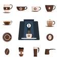Coffee set flat icon Design set vector image