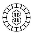 coin money dollar cash icon outline vector image