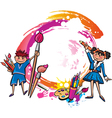 Colorful banner with children drawing vector image
