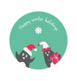Funny winter holidays card with penguin Elf Santa vector image