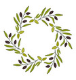 olive wreath with hand drawn branch vector image