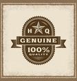 vintage genuine 100 percent quality label vector image