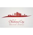 Oklahoma City V2 skyline in red vector image