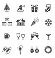 christmas and new year party icon set vector image