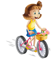 A happy girl riding a bike vector image