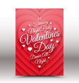 Valentines Day night party flayer vector image