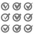 Check mark icons Grey tick check marks in circles vector image