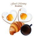 breakfast cofee cup croissant and vector image