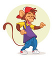 cool pretty monkey dancing vector image