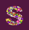 letter of beautiful flowers s vector image