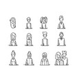 line icons family people avatars kids parents vector image