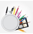 School theme background with different tools vector image