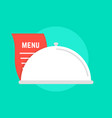 white dish icon with menu vector image
